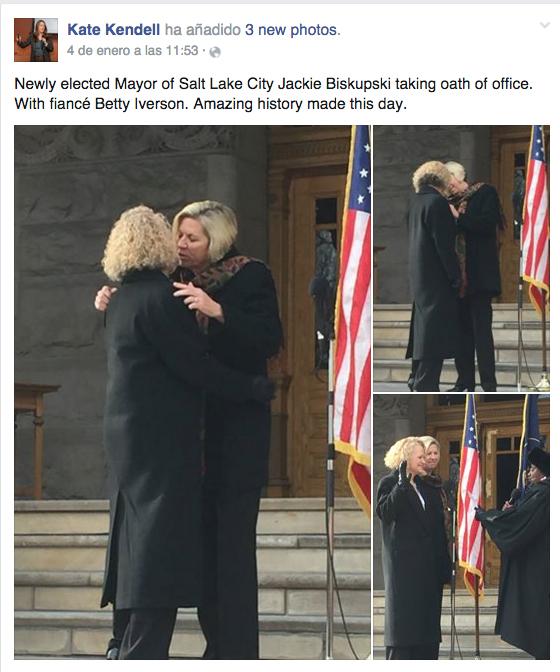 El beso a la nueva alcaldesa lesbiana de Salt Lake City